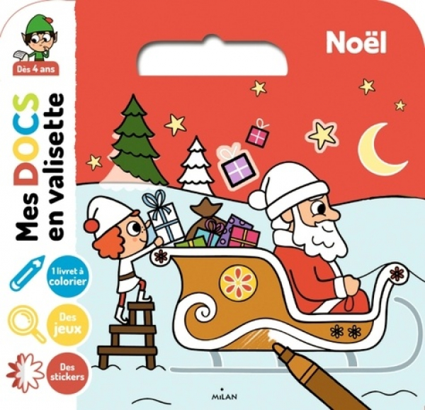 Noël - 1 livret à colorier, 4 grandes images avec stickers, des jeux d'observation 2020